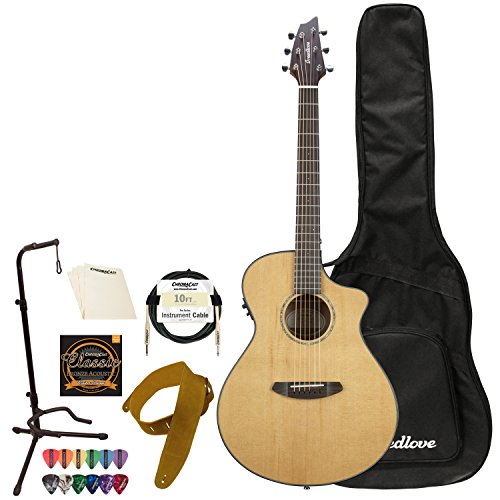 (Breedlove Discovery Series 6-String Concerto CE Sitka Spruce - Mahogany Acoustic-Electric Guitar with ChromaCast Accessories, Right Handed(DSCO01CESSMA-KIT-2))