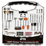 SPTA 180Pcs Rotary Tool Accessory Set with 3mm Shank- For Proxxon Dremel Rotary Tools - Cutting, Grinding, Sanding, Sharpening, Carving & Polishing