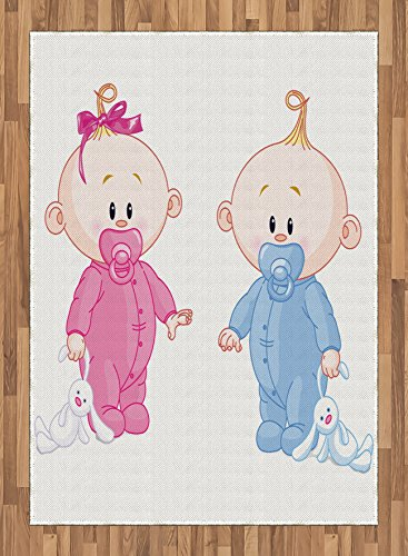 Gender Reveal Area Rug by Ambesonne, Cheerful Boy and Girl Children with Bunny Pacifiers Twins, Flat Woven Accent Rug for Living Room Bedroom Dining Room, 5.2 x 7.5 FT, Pale Blue and Pink Peach by Ambesonne