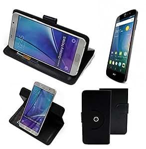 360° Funda Smartphone para ACER Liquid Z530, negro | Función de stand Caso Monedero BookStyle mejor precio, mejor funcionamiento - K-S-Trade