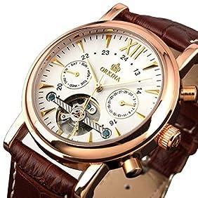 Orkina MG019 Analog Automatic Self Wind Brown PU Band Watch