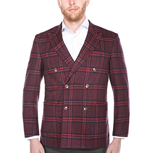 Chama Men's Plaid Double Breasted Peak Lapel Wool Blazer Pea Coat (Red, 48L) Double Windowpane Check