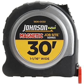 Johnson Level and Tool 1806-0030 30-Foot x 1 1/16-Inch JobSite Magnetic Tape