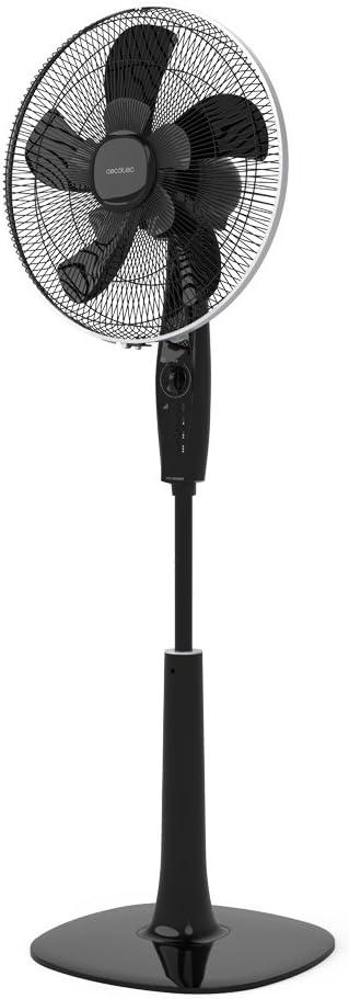 Cecotec ForceSilence 1020 ExtremeFlow Ventilador de pie 10 aspas, Potente, Oscilante, Silencioso, 3 velocidades, Temporizador, Regulable, Motor de cobre, Negro