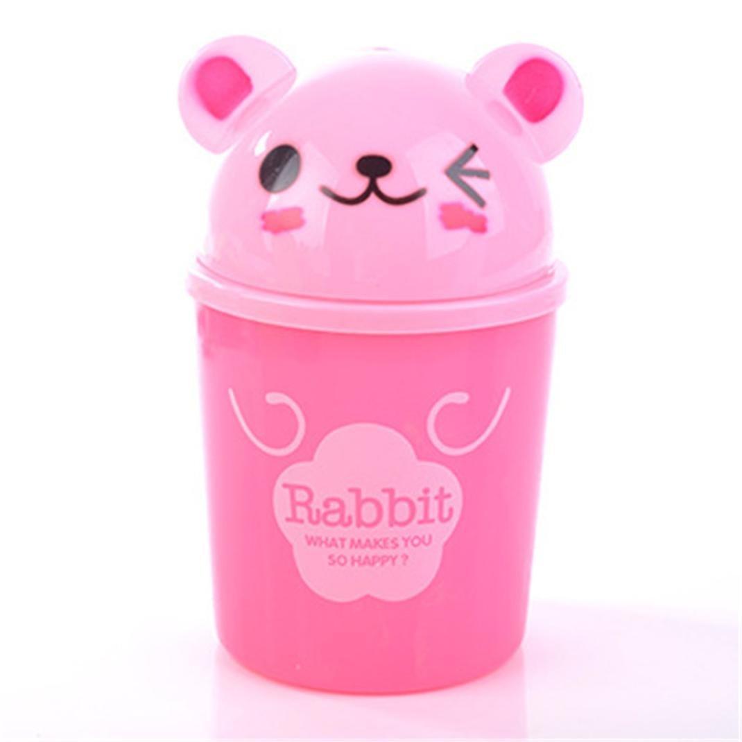 Mini poubelle, Xshuai® Lovely Cute Portable Trompette ordinateurs de bureau Mini Creative recouvert Poubelle pour table de cuisine Salon salle à manger, Green, Size: 19*12cm