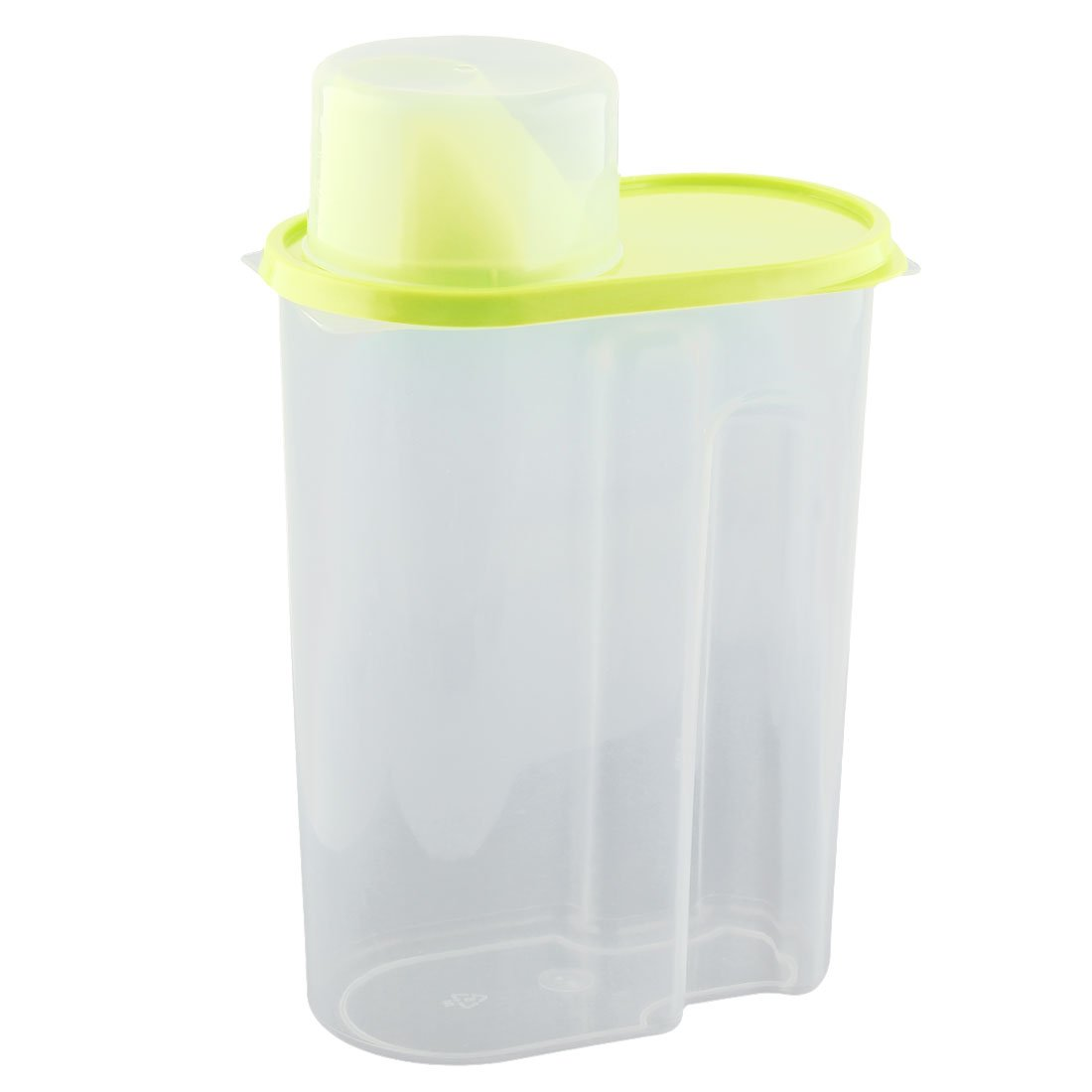 uxcell Plastic Family Kitchenware Cereal Grain Bean Rice Food Fresh Storage Box Case 2.5L Green Clear