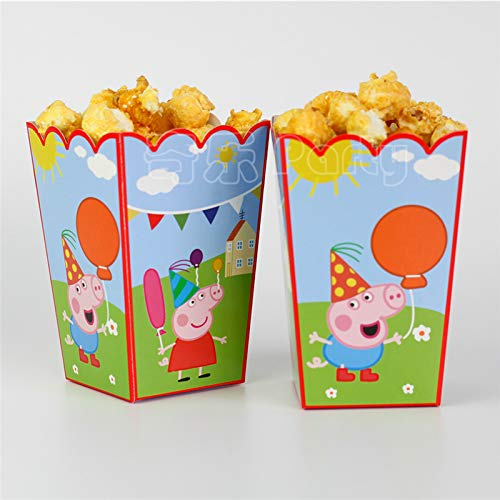 Astra Gourmet 12 Pack Cartoon Pig Party Popcorn Boxes for Peppa Pig Theme Birthday & Baby Shower Favors Treat Box Containers Party Supplies]()