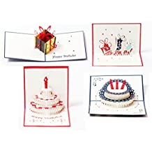 3D Pop Up Happy Birthday Gift Greeting Cards for Kids. Set of 4-Assortment Pack (4 Pack- Assorted)