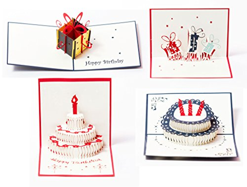 3D Pop Up Happy Birthday Gift Greeting Cards for Kids. Set of 4-Assortment Pack ()