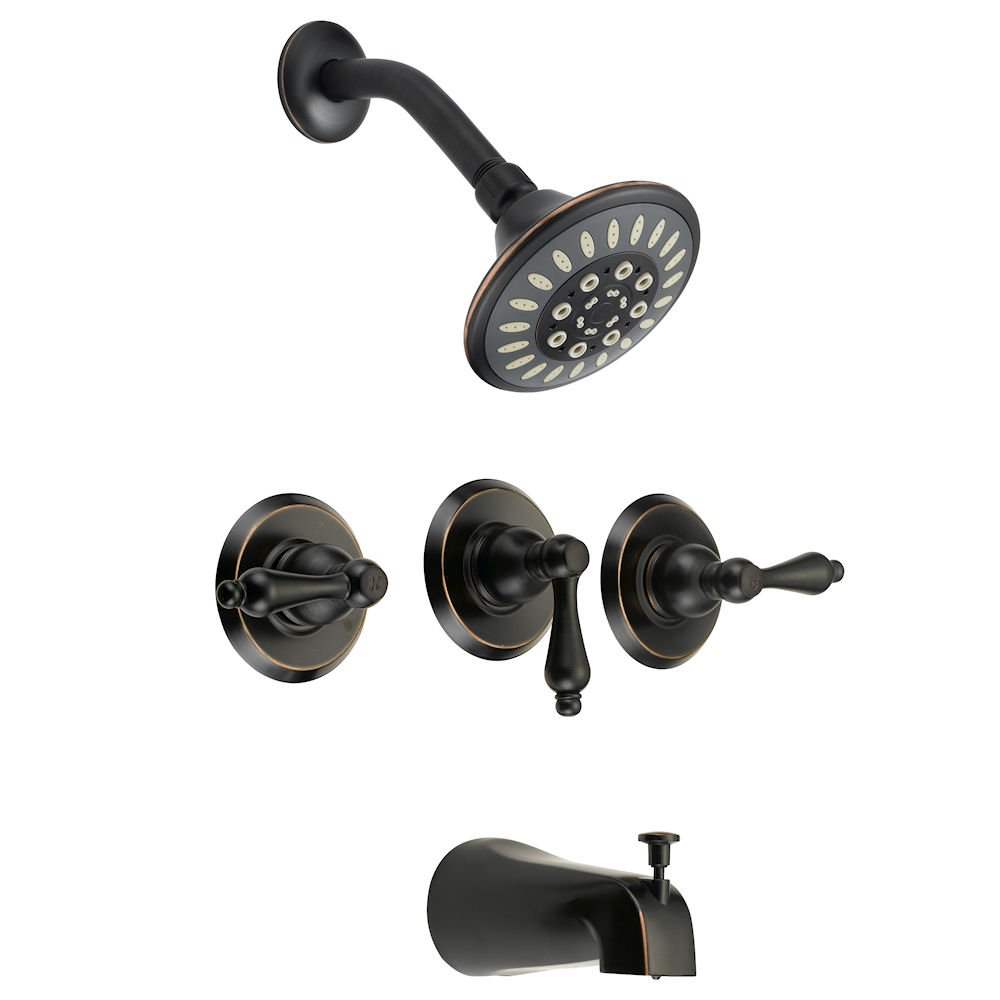 Designers Impressions 651700 Oil Rubbed Bronze Tub Shower Combo Faucet   Three  Handle Design And Multi Setting Shower Head   Convertible     Amazon.com