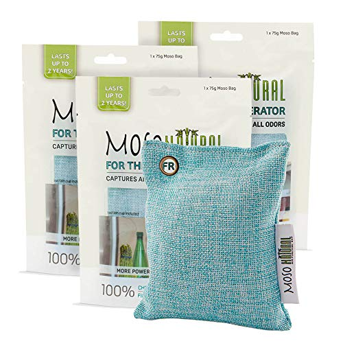 MOSO NATURAL Air Purifying Bag for The Refrigerator. Freezer and Fridge Odor Eliminator. More Powerful Than Baking Soda. (3) Individually Sealed Bags.