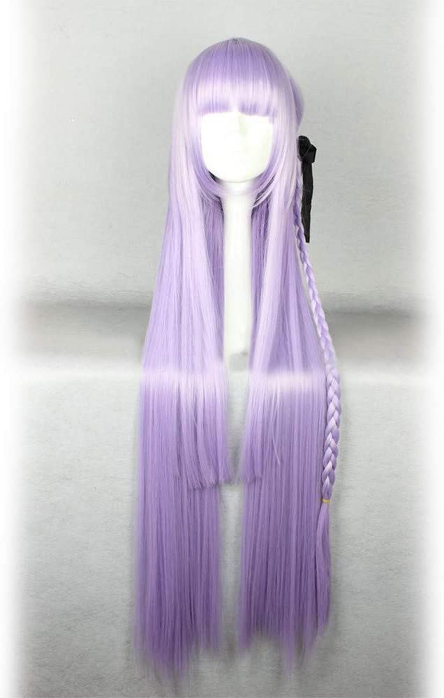 MQSS Cosplay Wigs Women's Long Straight Purple/Blue Lilac Wig Anime Cosplay Hair Wigs with Braid for Halloween Christmas Party