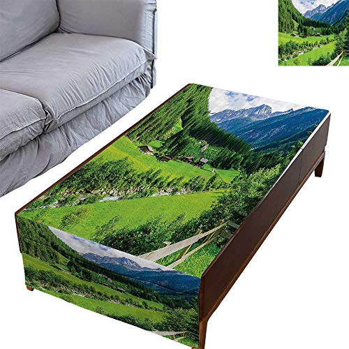 DESPKON-HOME Coffee Table Tablecloth Simple Modern Style Alpine Landscape with Meadow Cottages and Pines Stream in Village -