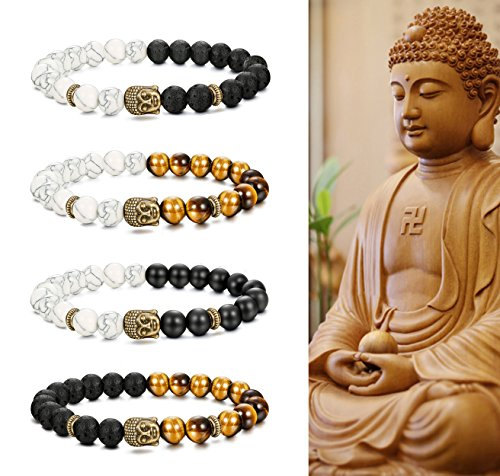 FIBO STEEL 4 Pcs Buddha Beads Bracelet for Men Women Buddhist Religious Prayer Natural Stone Healing Bracelet Adjustable