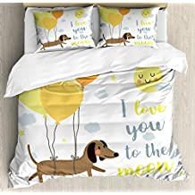 Ambesonne I Love You Duvet Cover Set Queen Size, Dog with Balloons and Concept Hearts Sun Clouds Puppy Best Friends, Decorative 3 Piece Bedding Set with 2 Pillow Shams, Yellow Cocoa Blue Grey,