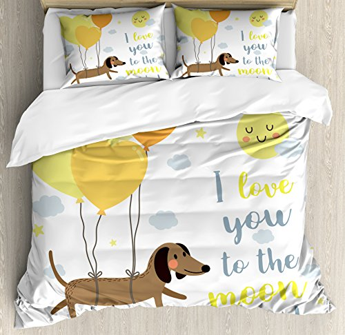 Ambesonne I Love You Duvet Cover Set, Dog with Balloons and Hearts Sun Clouds Puppy Baby Best Friends, Decorative 3 Piece Bedding Set with 2 Pillow Shams, Queen Size, Yellow Grey