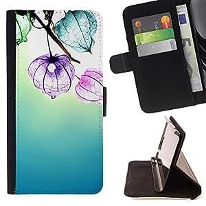 For Samsung Galaxy S5 V SM-G900 Case , Fleurs Floral Bleu Soleil - la tarjeta de Crédito Slots PU Funda de cuero Monedero caso cubierta de piel