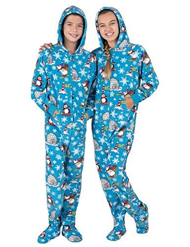 Footed Pajamas - Winter Wonderland Kids Hoodie Fleece Onesie - Large