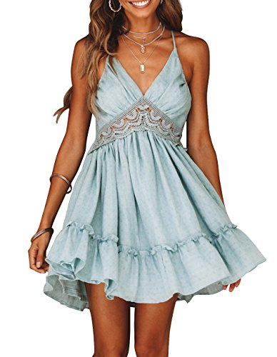 (Angielucky Women's Sexy Halter Lace Sundresses A-line Mini Dress Swing Skater Dresses (Suits US)