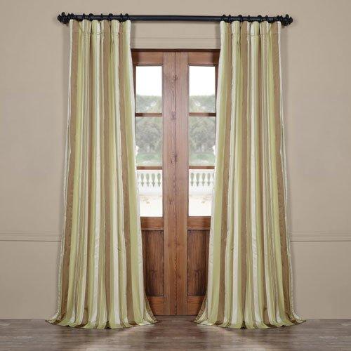 Rose Street Tan and Green 108 x 50 in. Luxury Faux Silk Stripe Curtain Single Panel ()