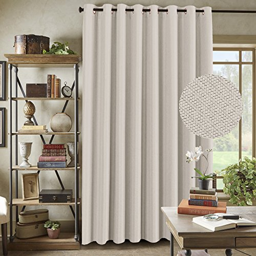 H.Versailtex Wide Blackout Room Darkening Rich Quality of Textured Linen Patio Door Curtains Home Fashion Window Panel Drapes With 16 Grommets - Ivory - 100 inch Wide by 96 inch Long (Inch 100 Panels Curtain Wide)