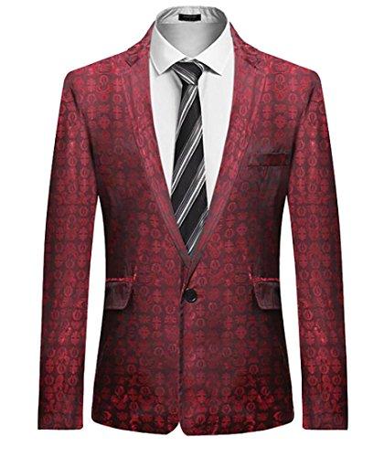 X-Future Mens Long Sleeve One Button Print Lapel Club Pockets Blazer Jackets Wine red XS (Country Club Blazer)