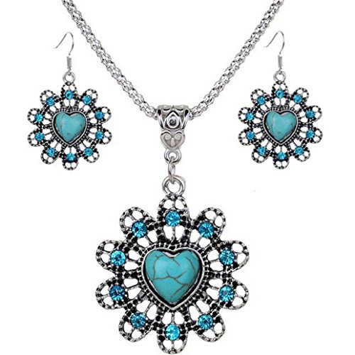 Price comparison product image 2017 Hot Jewelry Set ! AMA(TM) Women Vintage BOHO Style Peacock Butterfly Flower Owl Turquoise Pendant Necklace Earrings Eardrop Jewelry Set Gifts (B)