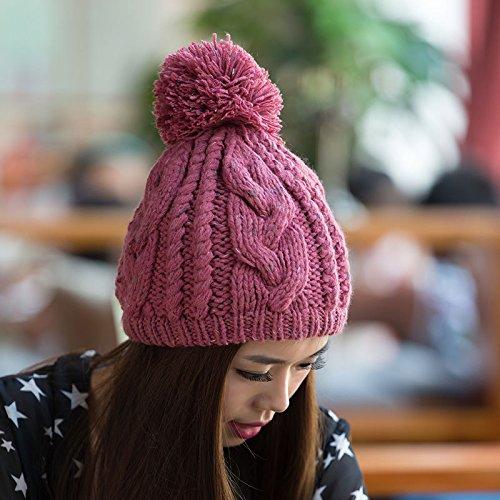 al Twist Flores Engrosada Libre otoño Gray Lana Gorro en Maozi líneas Invierno Tejer PINK Coreano Aire Rugosa de Pescado y xwtRqEg8