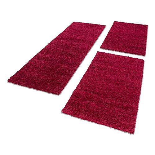 Bettumrandung Hochflor Shaggy Läufer Langflor Teppich 3 Tlg. Läuferset NEU 1500, Maße:2x 60x110 cm / 1x 80x150 cm;Farbe:Rot (Red)