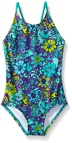 Kanu Surf Little Girls' Toddler Karlie Flower One Piece Swimsuit, Purple, 2T