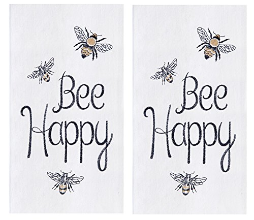 Embroidered Bee Bumble (C&F Home 2 Flour Sack Kitchen Dishtowels, Embroidered Bumble Bee Design)