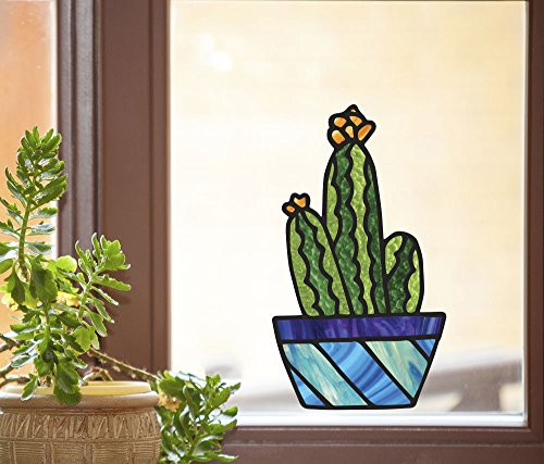 """Potted Cactus Plants - D2 - Succulent Cacti - Stained Glass Style - See-Through Vinyl Window Decal - Copyright 2016 Yadda-Yadda Design Co. (Size Choices) (LG 7""""w x 12""""h)"""