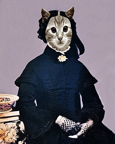 Victorian WIDOW CAT Lady Altered Kitty portrait anthro Grey Tabby altered art (Victorian Woman Portrait)