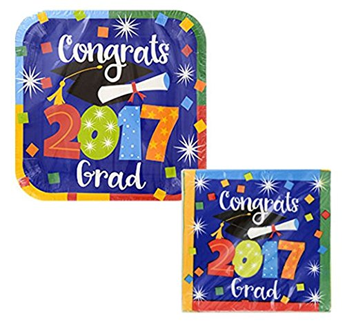 2017-Square-Graduation-Plate-and-Napkin-Set-Serves-14-Guests