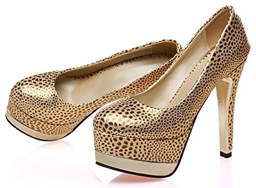 Idifu Mujeres Unique Round Toe Slip En Low Cut Low Top High Stiletto Heels Bombas Zapatos Con Plataforma De Oro