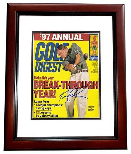 Tom Lehman Memorabilia - Tom Lehman Autographed Signed Golf Digest Cover MAHOGANY Custom Frame PSA/DNA Authentic