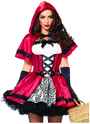 Plus Size Costumes (Leg Avenue Women's 2 Piece Gothic Red Riding Hood Costume, Red/White, Large)
