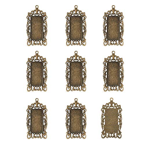 Pandahall 10pcs Antique Bronze Rectangle Pendant Tray Blank Bezel Settings Clear Covers with Frilled Edge for Clear Glass Cabochon Tray: 38x19mm/1.5x0.75inch