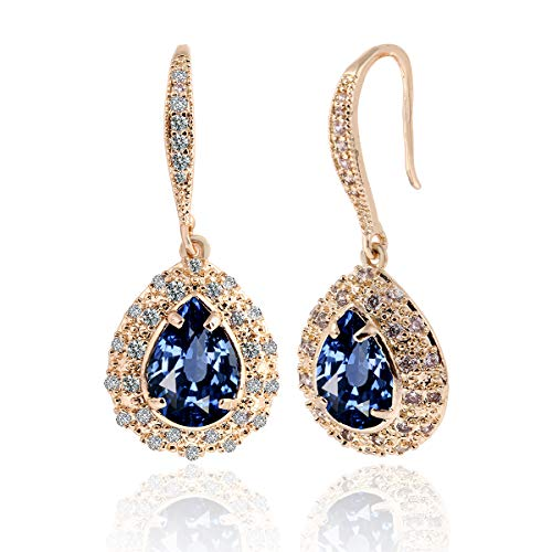 Blue Sapphire Earrings for Women - Gold Bridal Teardrop Crystal Cubic Zirconia Drop Earring for Wedding Party Prom Fashion Jewelry for Bride Bridesmaids September Birthstone Birthday Gift Blue Sapphire Crystal Earrings