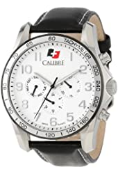 "Calibre Men's SC-4B1-04-001 ""Buffalo"" Stainless Steel and Leather Watch"