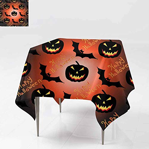 Fbdace Fashions Table Cloth,Halloween Seamless Vector Pattern Background Wallpaper for Events Party Restaurant Dining Table Cover 70x70 Inch]()
