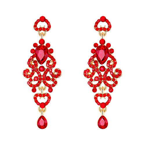 (EVER FAITH Women's Crystal Bohemia Hollow Heart Teardrop Wedding Pierced Dangle Earrings Red Gold-Tone)