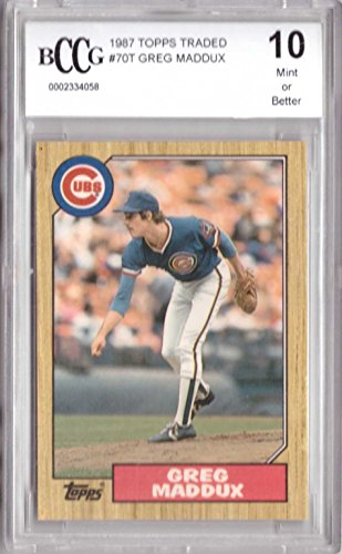 1987 Topps Traded Baseball (1987 Topps Traded Baseball #70T Greg Maddux Rookie Card Graded BCCG 10)