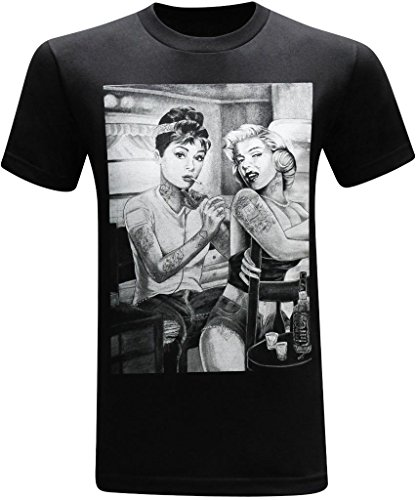 Marilyn Monroe and Audrey Hepburn Tattooed Twins Men's Funny T-Shirt - (Large) - Black