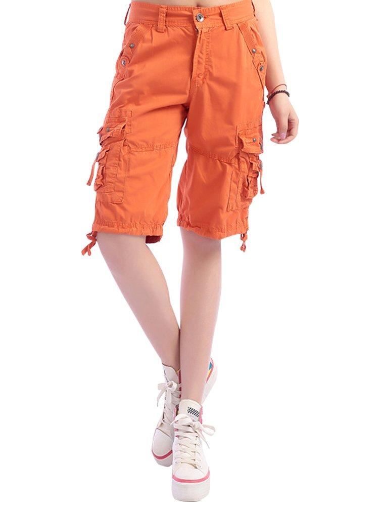 Women's Casual Loose Fit Multi-Pockets Twill Bermuda Cargo Shorts #1361,Orange,US 36