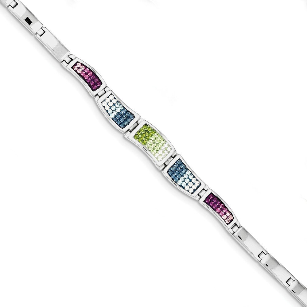 Sterling Silver Rhod Plated 7.5inch Multicolored CZ Cubic Zirconia Ferido Style Bracelet 7.5'' - with Secure Lobster Lock Clasp (8mm)