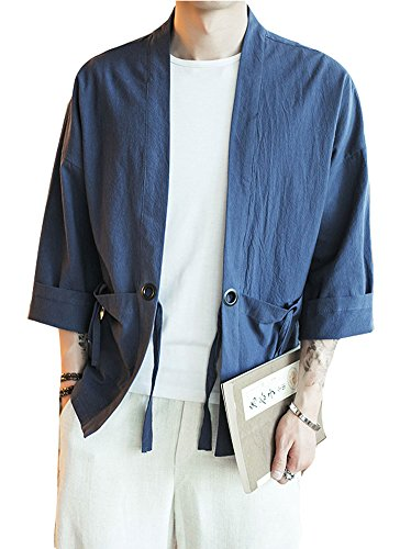 - Plaid&Plain Men's Vintage Kimono Cardigan Casual Linen Pocket Cardigan Coat Navy M