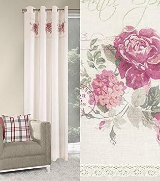 Fesselnd Dekorativ Vorhang Ösen 140x250 Cm CONNIE Weiß Wohnzimmer Landhaus Blumen  Muster Rosa Blickdicht