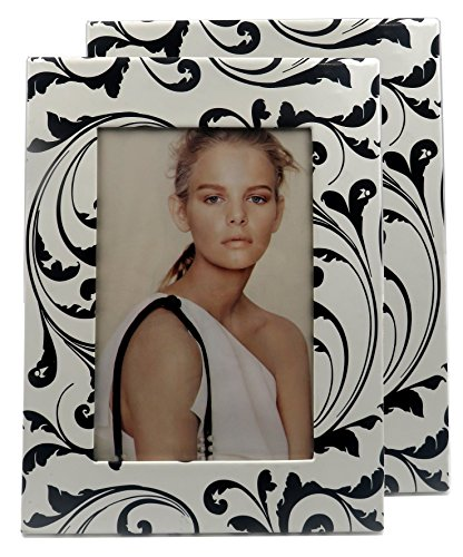 MyEyeglassCase 2 picture frames in black & white paisley damask design, for a 4