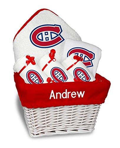 Designs by Chad and Jake Baby Personalized Montreal Canadiens Medium Gift Basket One Size White